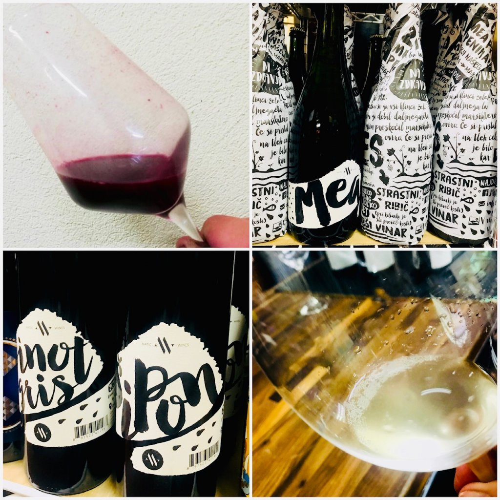 Collage of four photos, one red wine in a glass, black and white labels of wine on a shelf, the Pinot Gris and Sipon wines, and Pet Nat bubbly in the glass