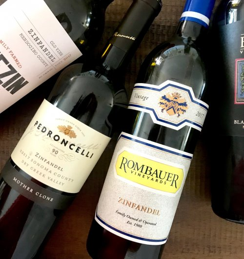 Four bottles of California Zinfandel wine
