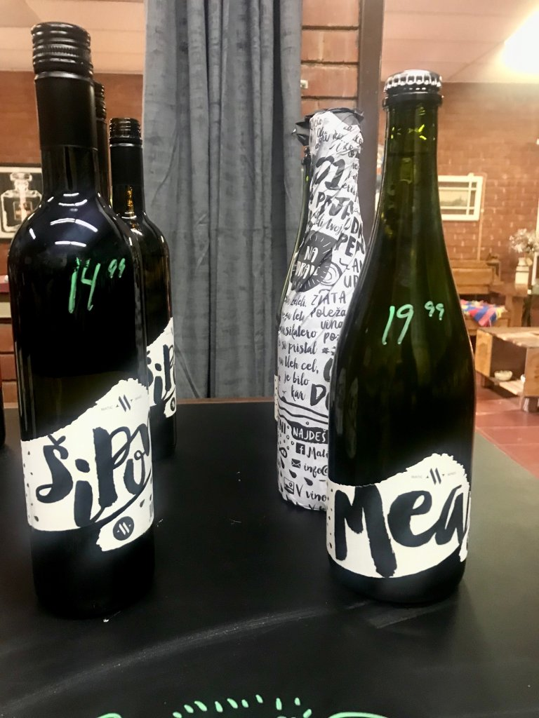 Bottles of Matic Wines from Slovenia with a stylish black and white label